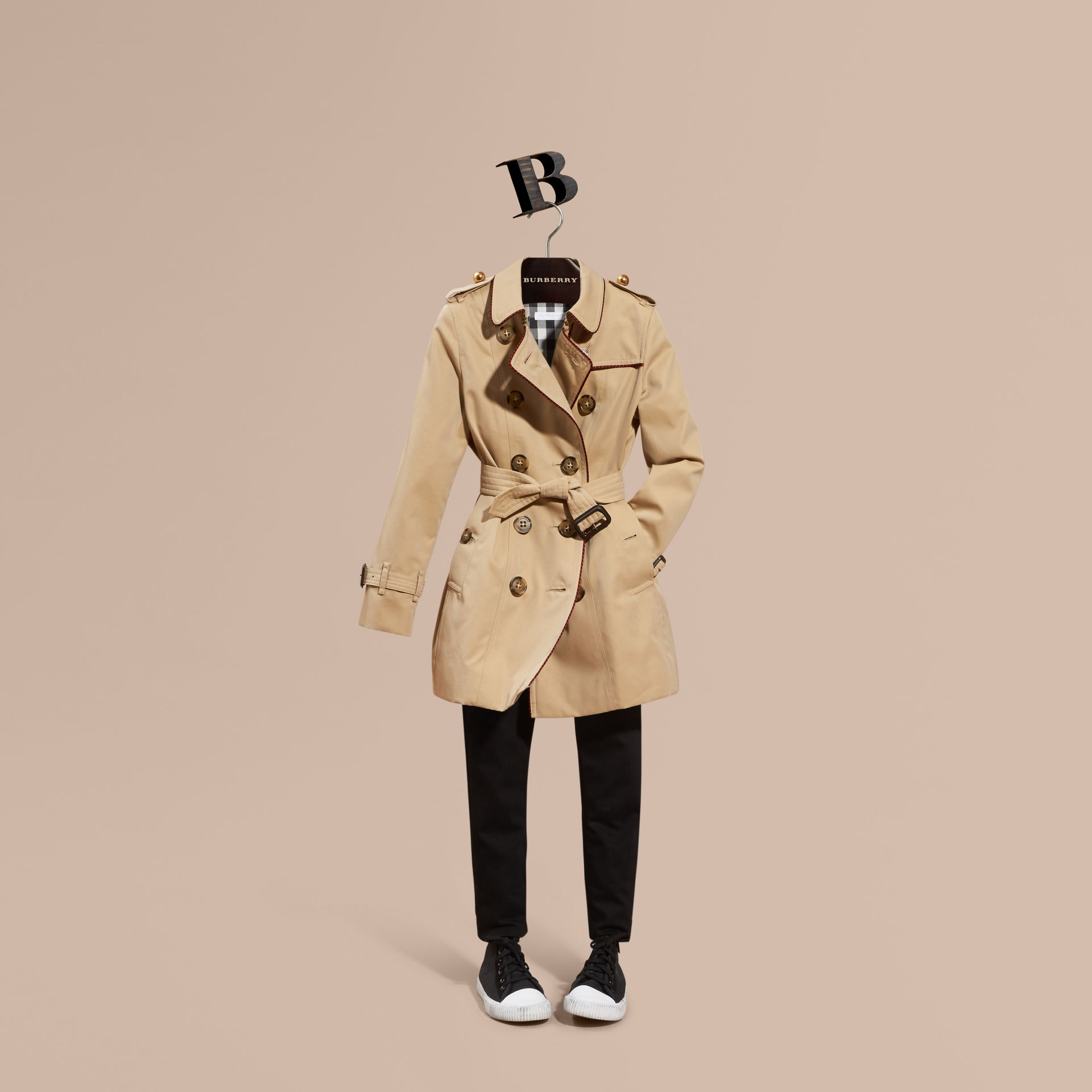 Honey Cotton Gabardine Trench Coat with Regimental Piping - gallery image 1