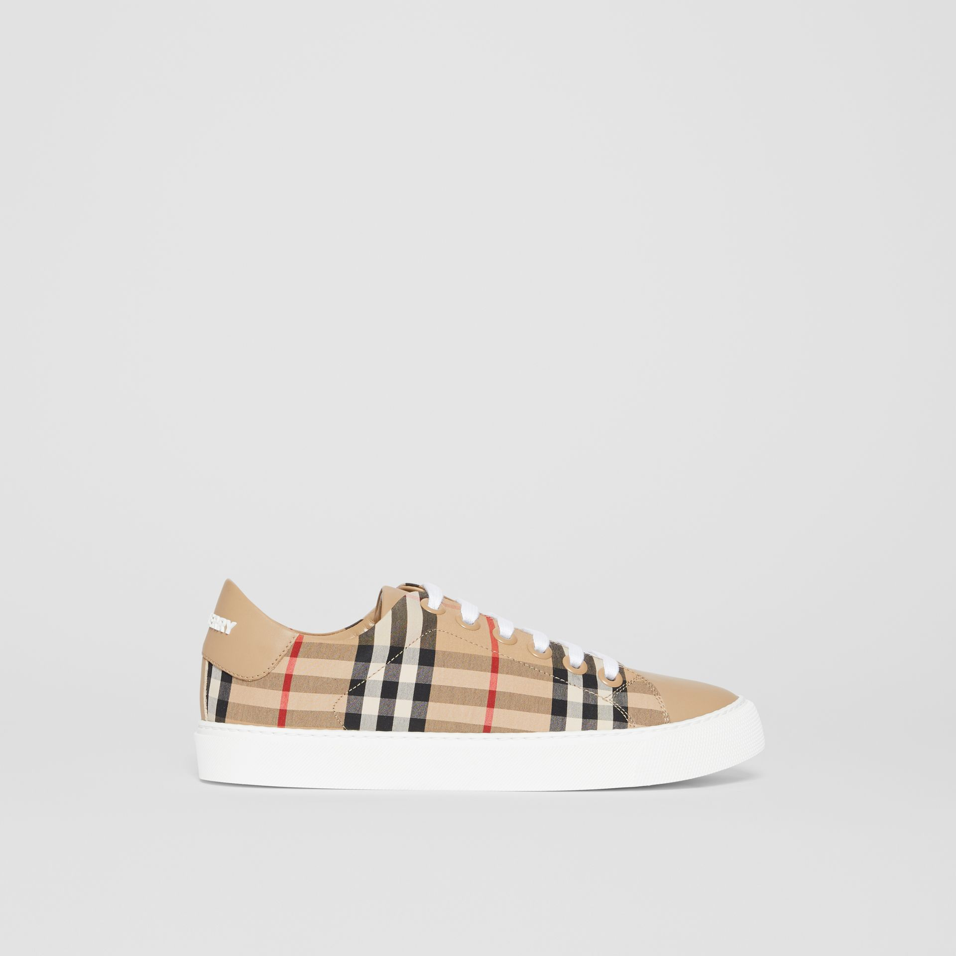Vintage Check and Leather Sneakers in Archive Beige - Women | Burberry - gallery image 4