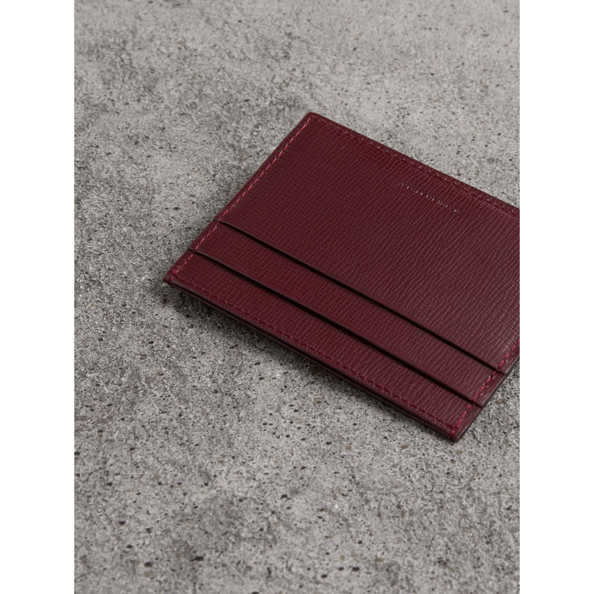 London Leather Card Case in Burgundy Red - Men | Burberry Hong Kong - gallery image 2