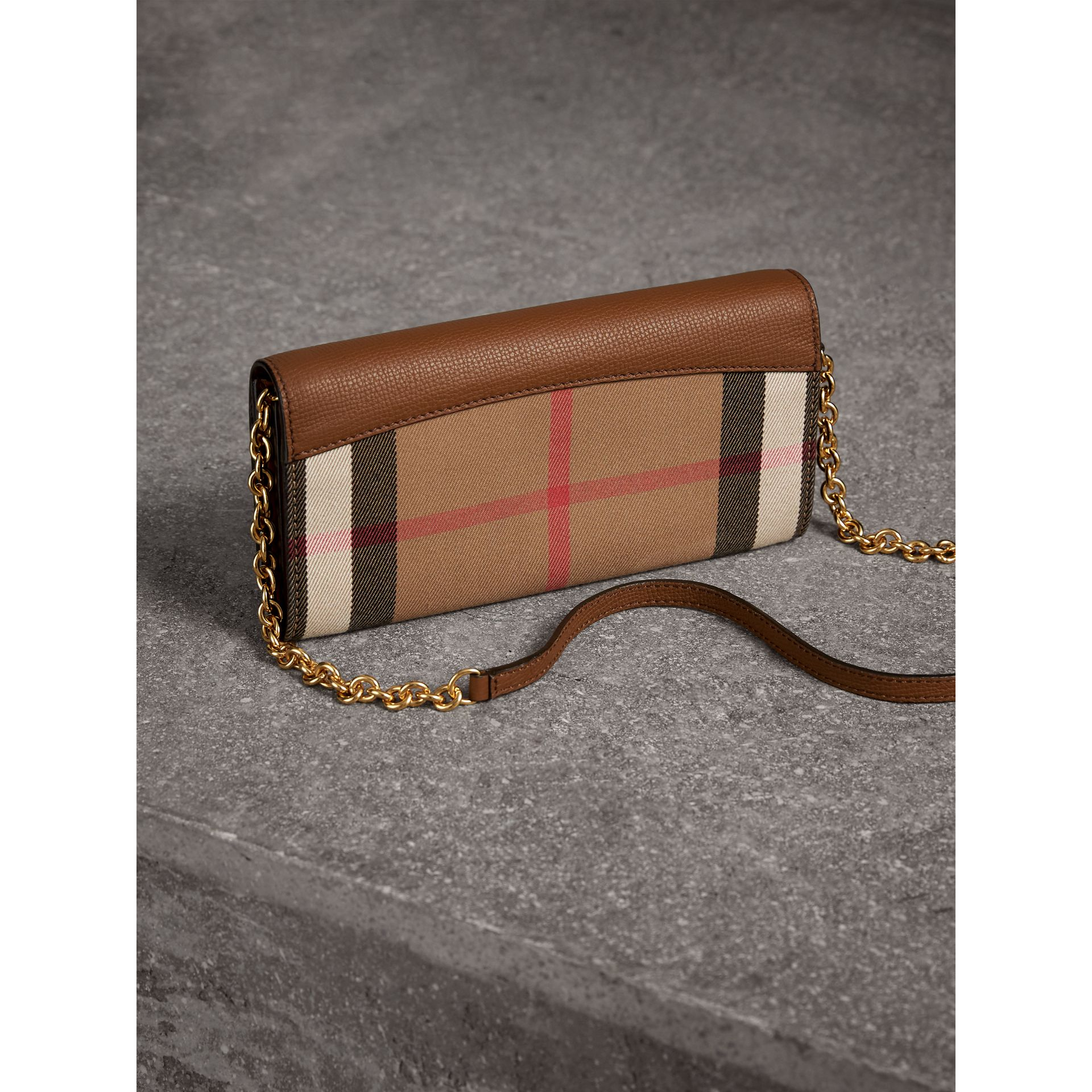 House Check and Leather Wallet with Chain in Tan - Women | Burberry Australia - gallery image 4