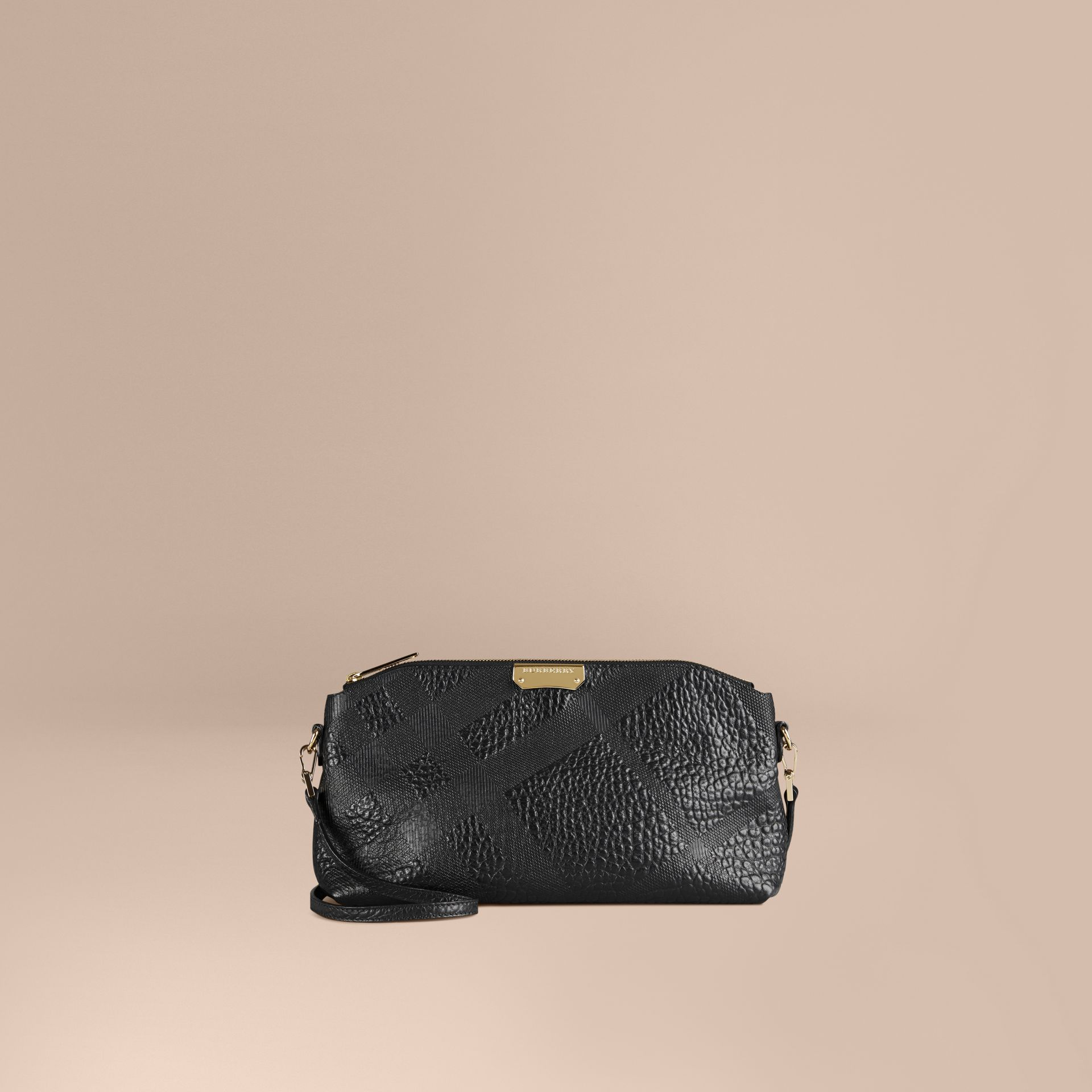 Small Embossed Check Leather Clutch Bag in Black - gallery image 1