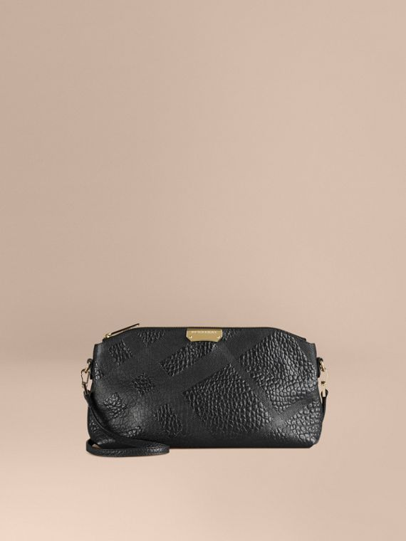 Small Embossed Check Leather Clutch Bag Black