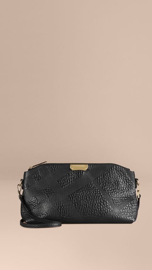 Black Small Embossed Check Leather Clutch Bag Black - Image 1