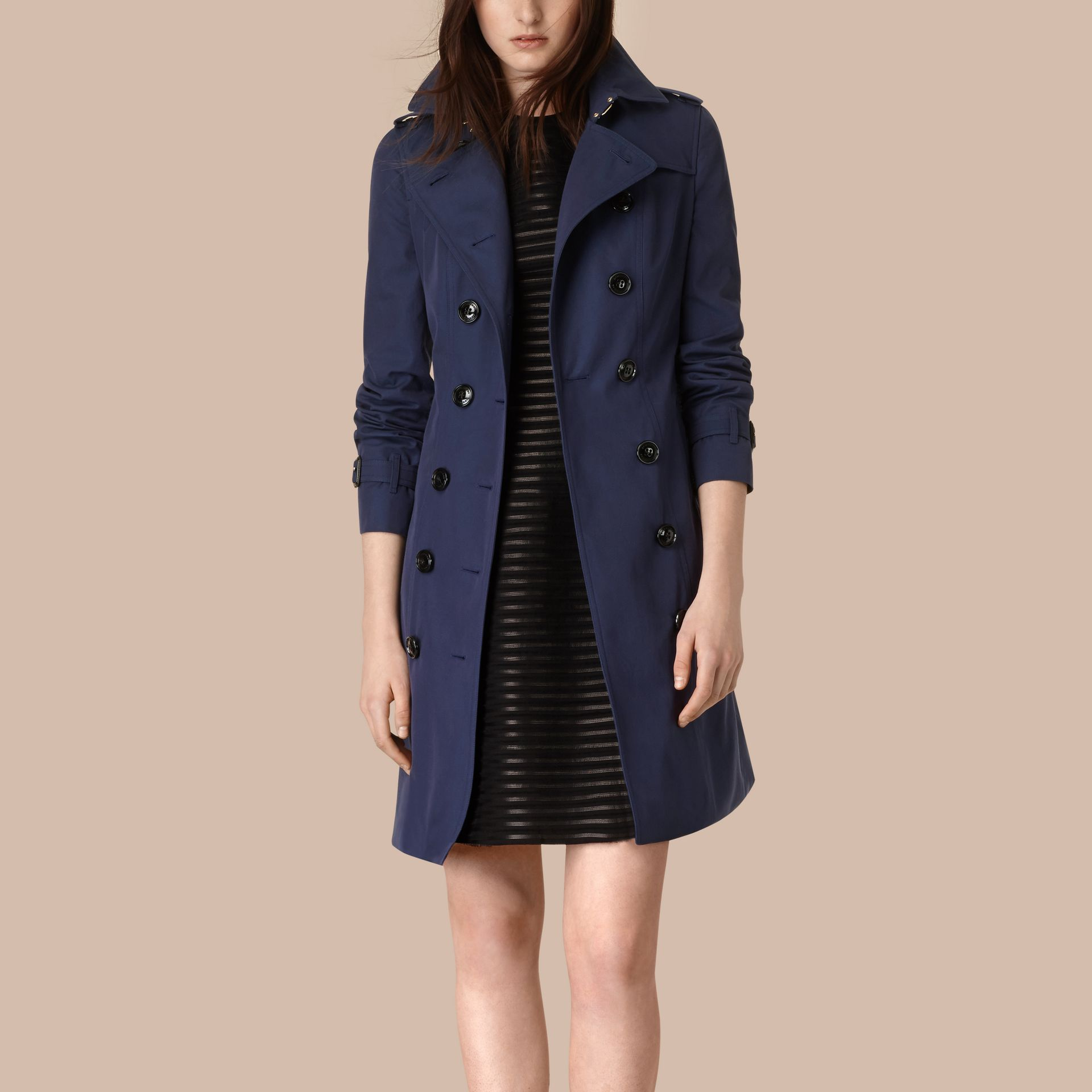 Ink blue Cotton Gabardine Trench Coat Ink Blue - gallery image 2