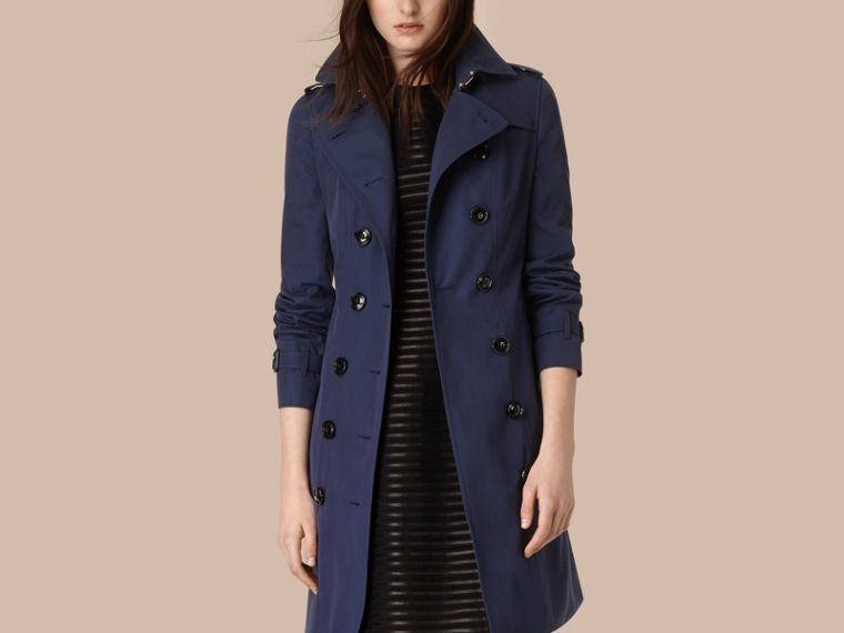Ink blue Cotton Gabardine Trench Coat Ink Blue - cell image 1