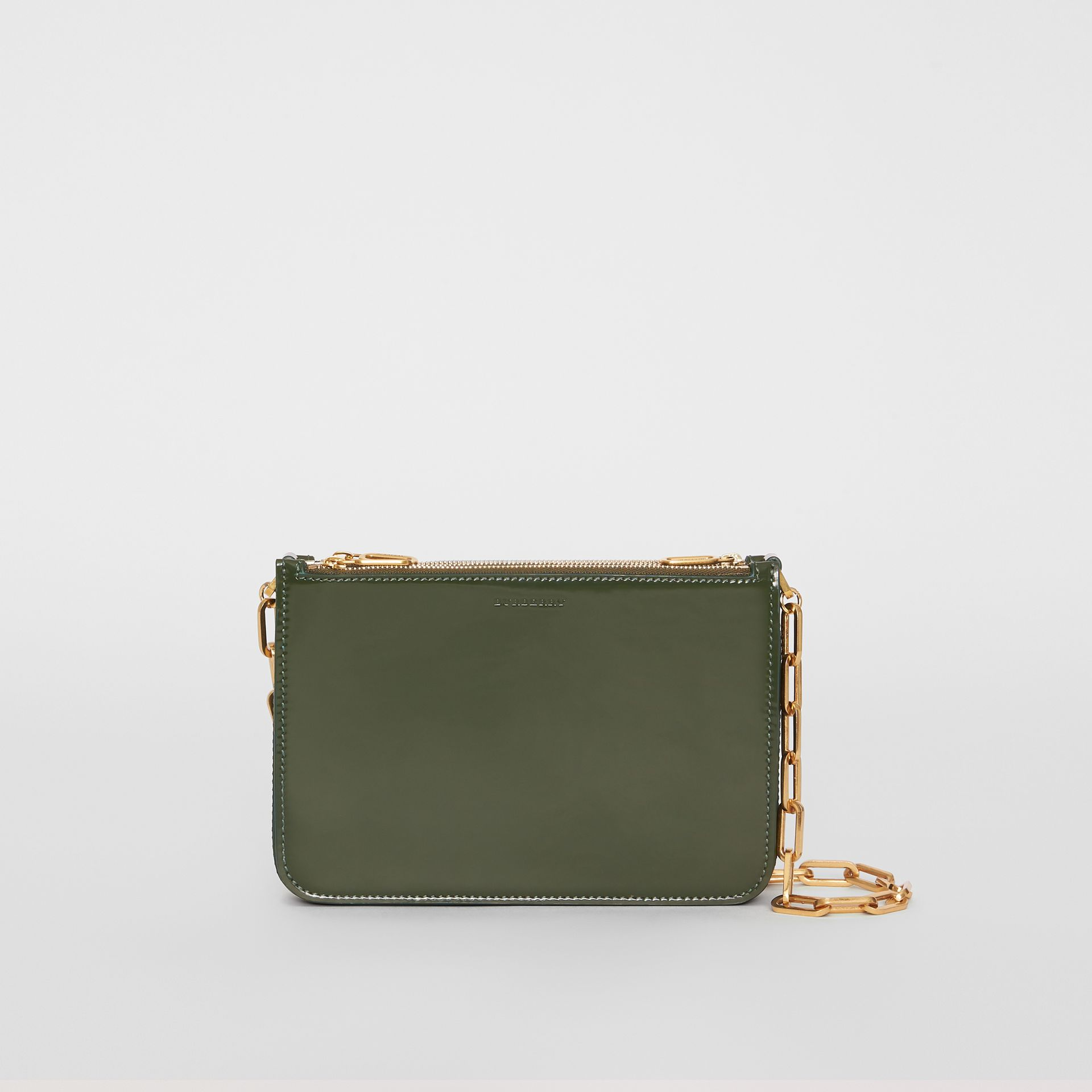 Triple Zip Patent Leather Crossbody Bag in Dark Forest Green - Women | Burberry United States - gallery image 0