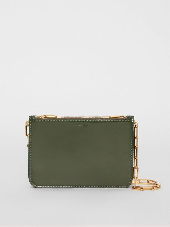 Triple Zip Patent Leather Crossbody Bag in Dark Forest Green