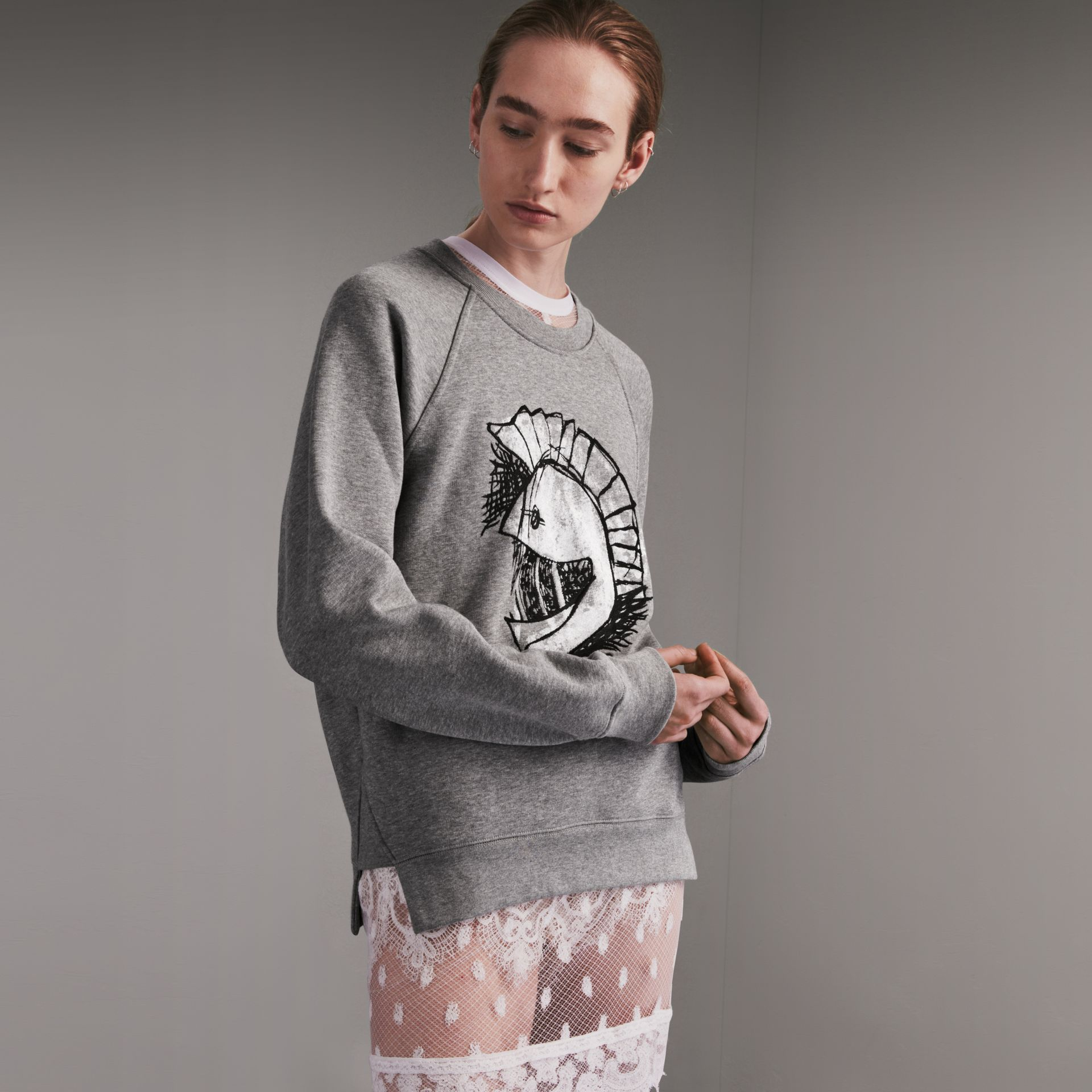 Unisex Pallas Helmet Motif Sweatshirt in Grey Melange - Women | Burberry - gallery image 7