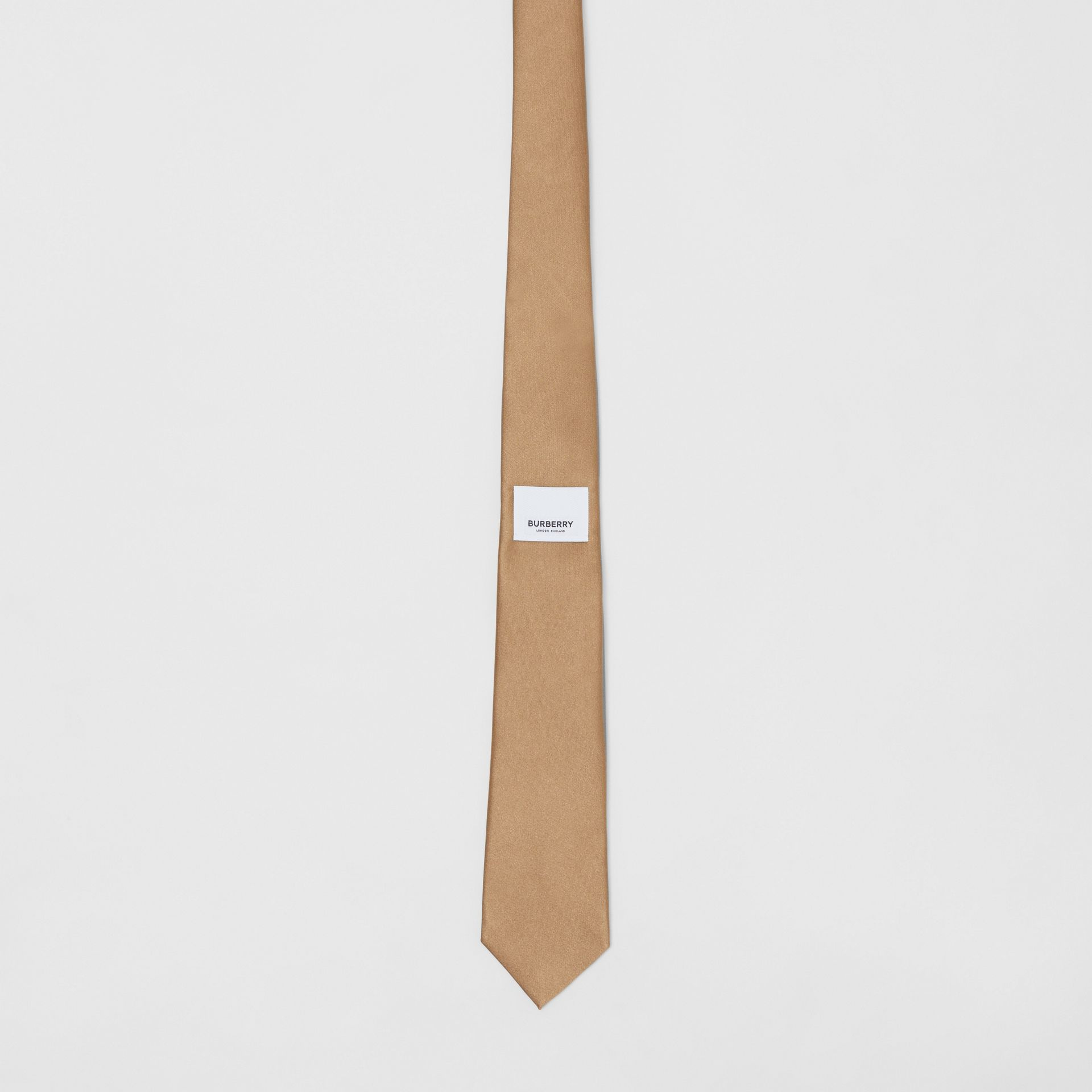 Logo Label Classic Cut Silk Tie in Light Fawn - Men | Burberry United Kingdom - gallery image 3