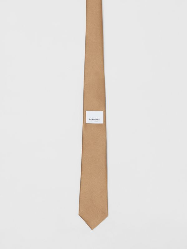 Logo Label Classic Cut Silk Tie in Light Fawn - Men | Burberry United Kingdom - cell image 3