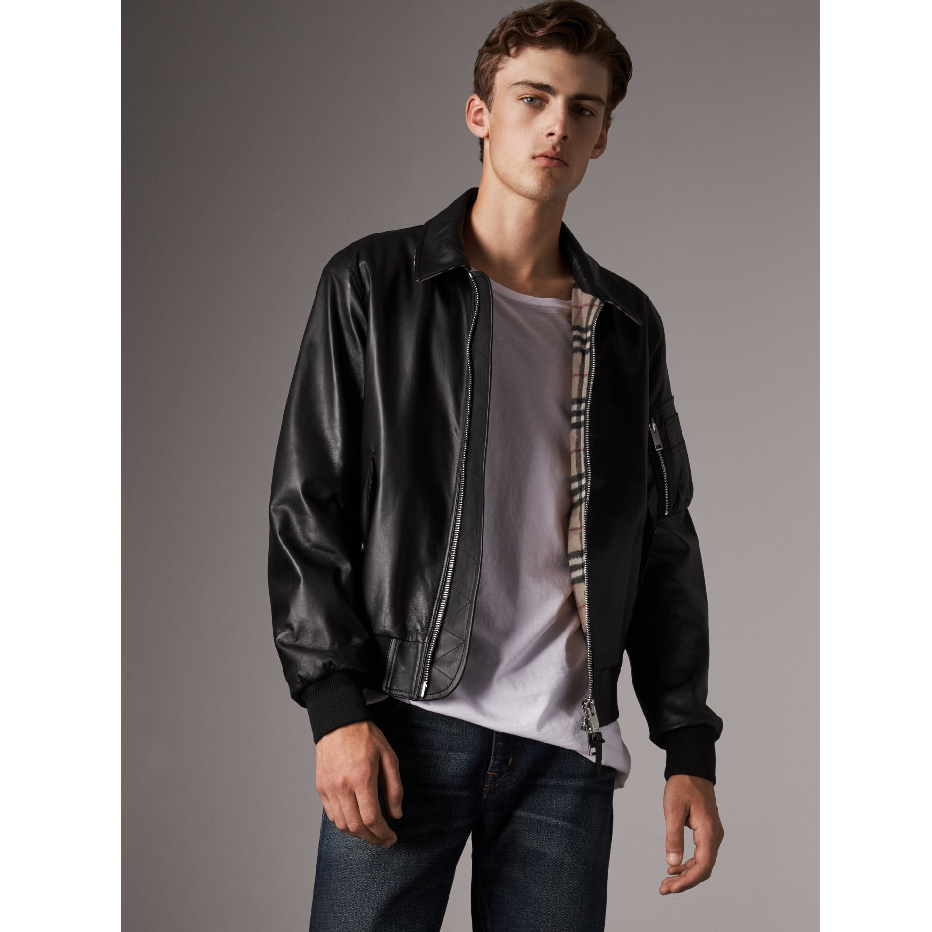 Point Collar Lambskin Bomber Jacket in Black - Men | Burberry - gallery image 1