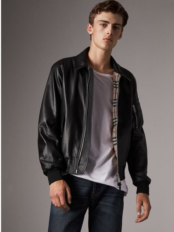 Point Collar Lambskin Bomber Jacket in Black