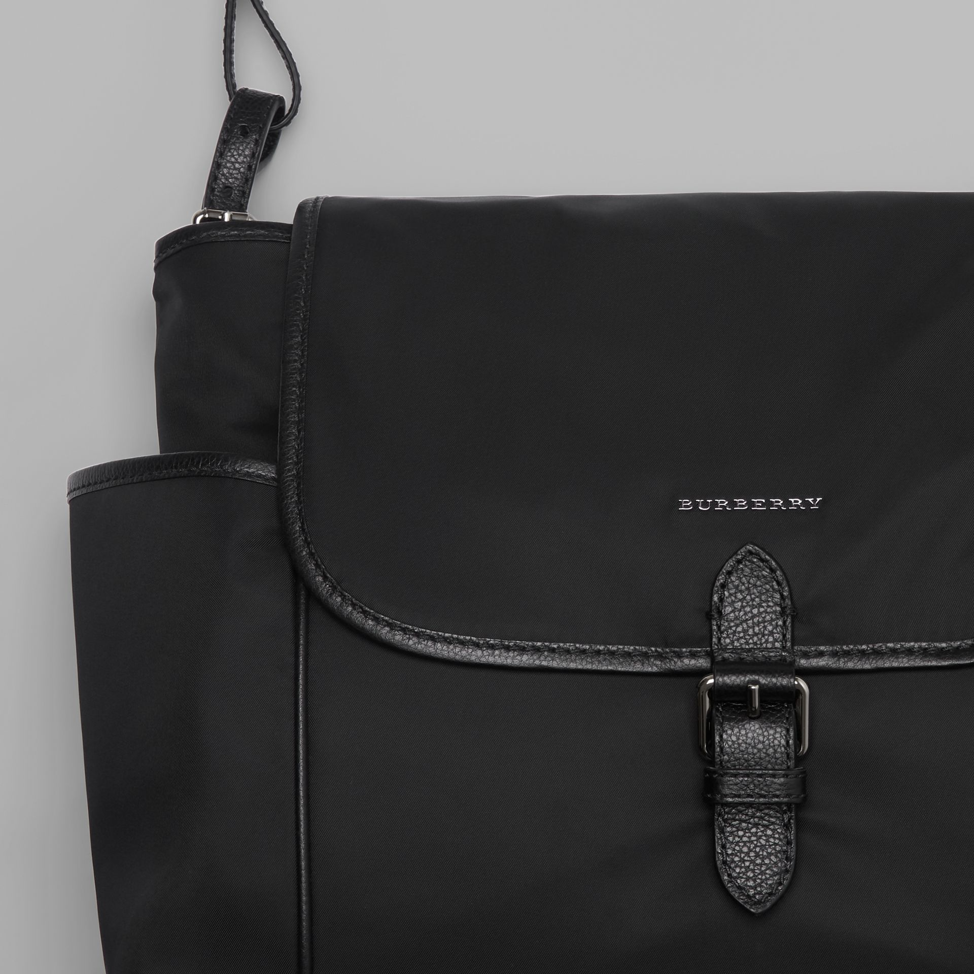 Leather Trim Baby Changing Shoulder Bag in Black - Children | Burberry Australia - gallery image 1