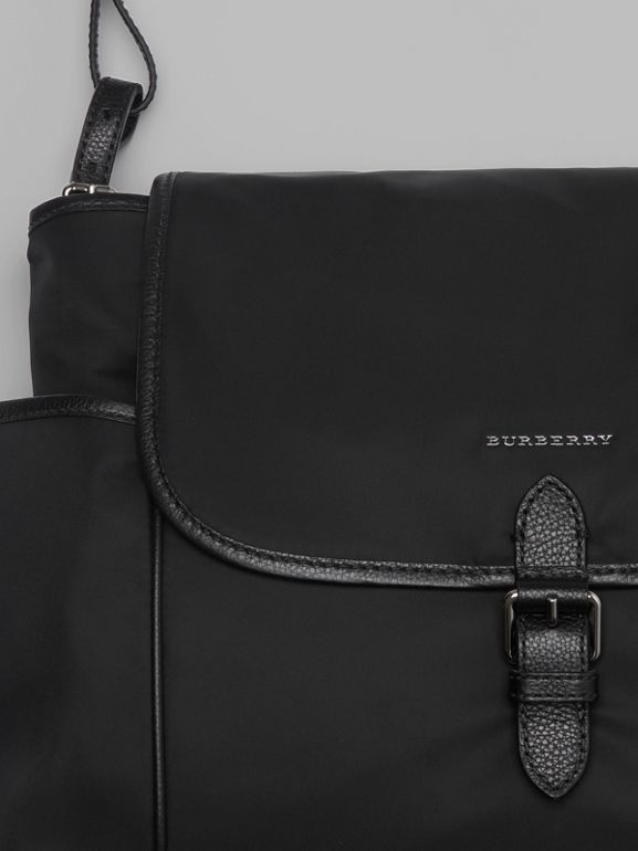 Leather Trim Baby Changing Shoulder Bag in Black - Children | Burberry United Kingdom - cell image 1