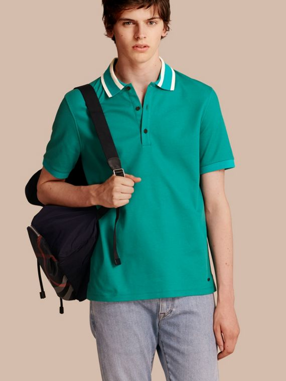 Striped Collar Cotton Piqué Polo Shirt Viridian Green