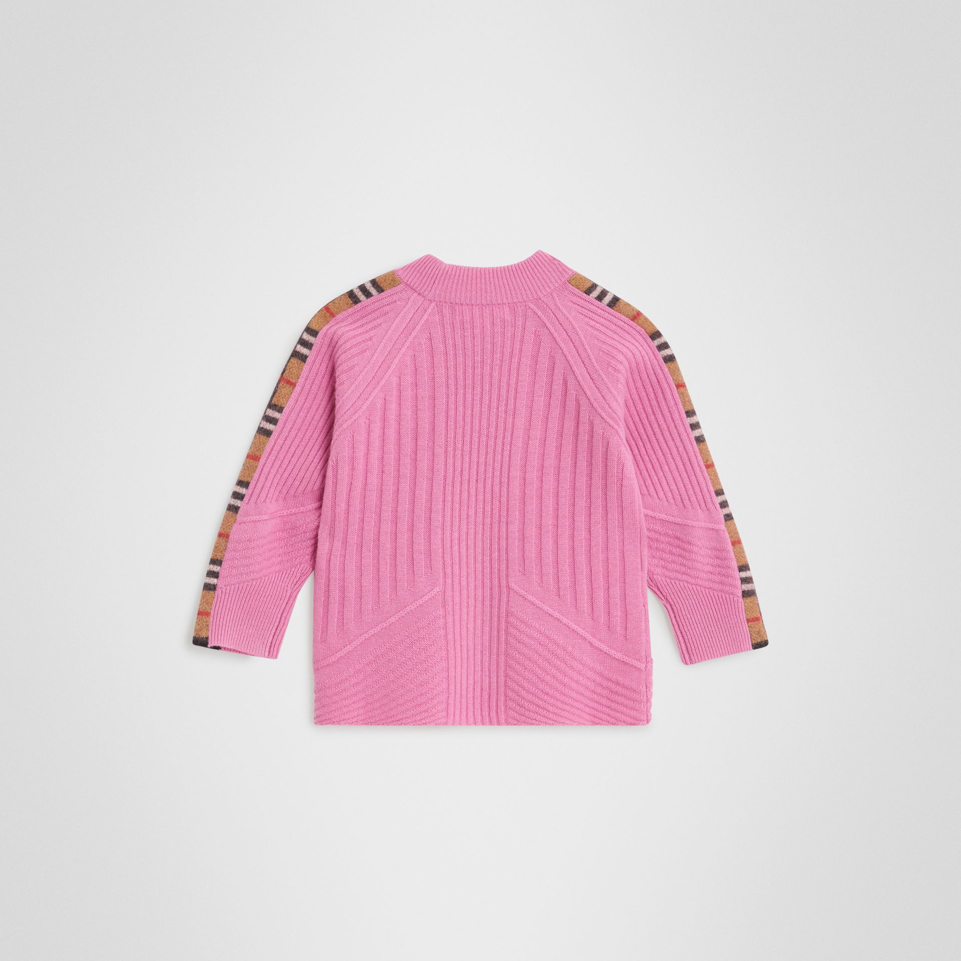 Check Detail Wool Cashmere Sweater in Rose Pink | Burberry United Kingdom - gallery image 3