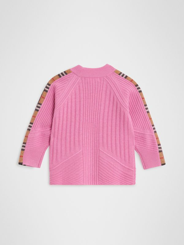Check Detail Wool Cashmere Sweater in Rose Pink | Burberry Singapore - cell image 3
