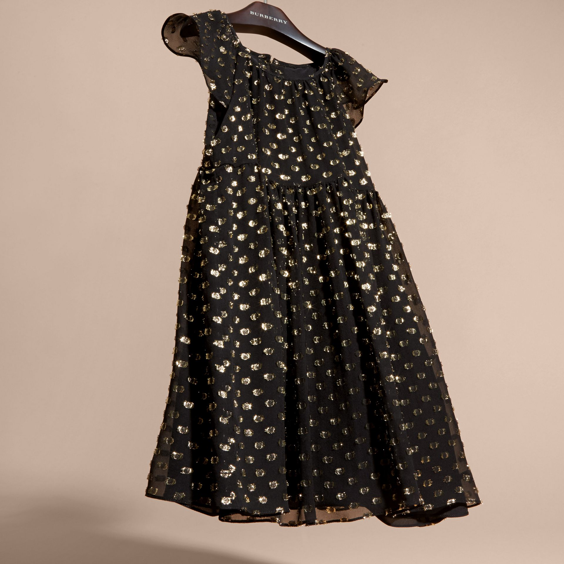 Fil Coupé Dress in Gold/black - gallery image 3