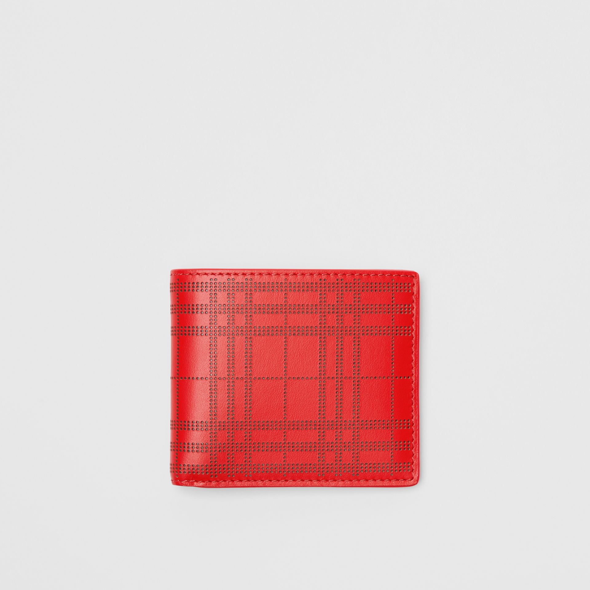 Perforated Check Leather International Bifold Wallet in Rust Red - Men | Burberry - gallery image 0