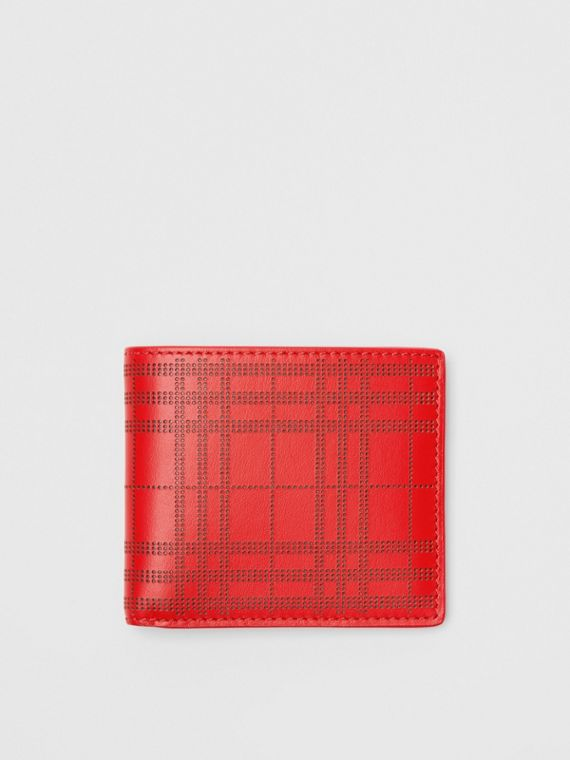 Perforated Check Leather International Bifold Wallet in Rust Red