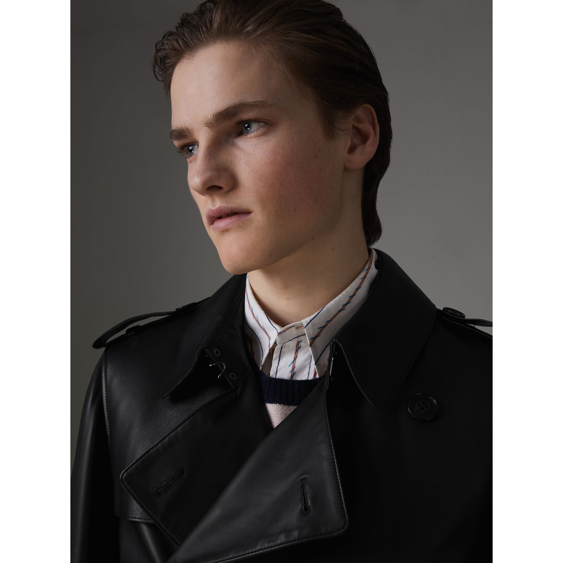 Lambskin Trench Coat in Black - Men | Burberry - gallery image 4