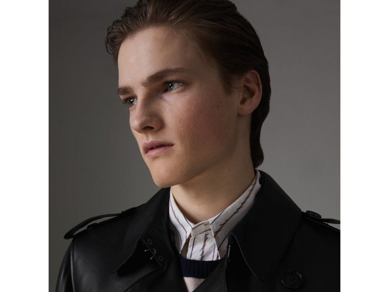 Lambskin Trench Coat in Black - Men | Burberry United Kingdom - cell image 4