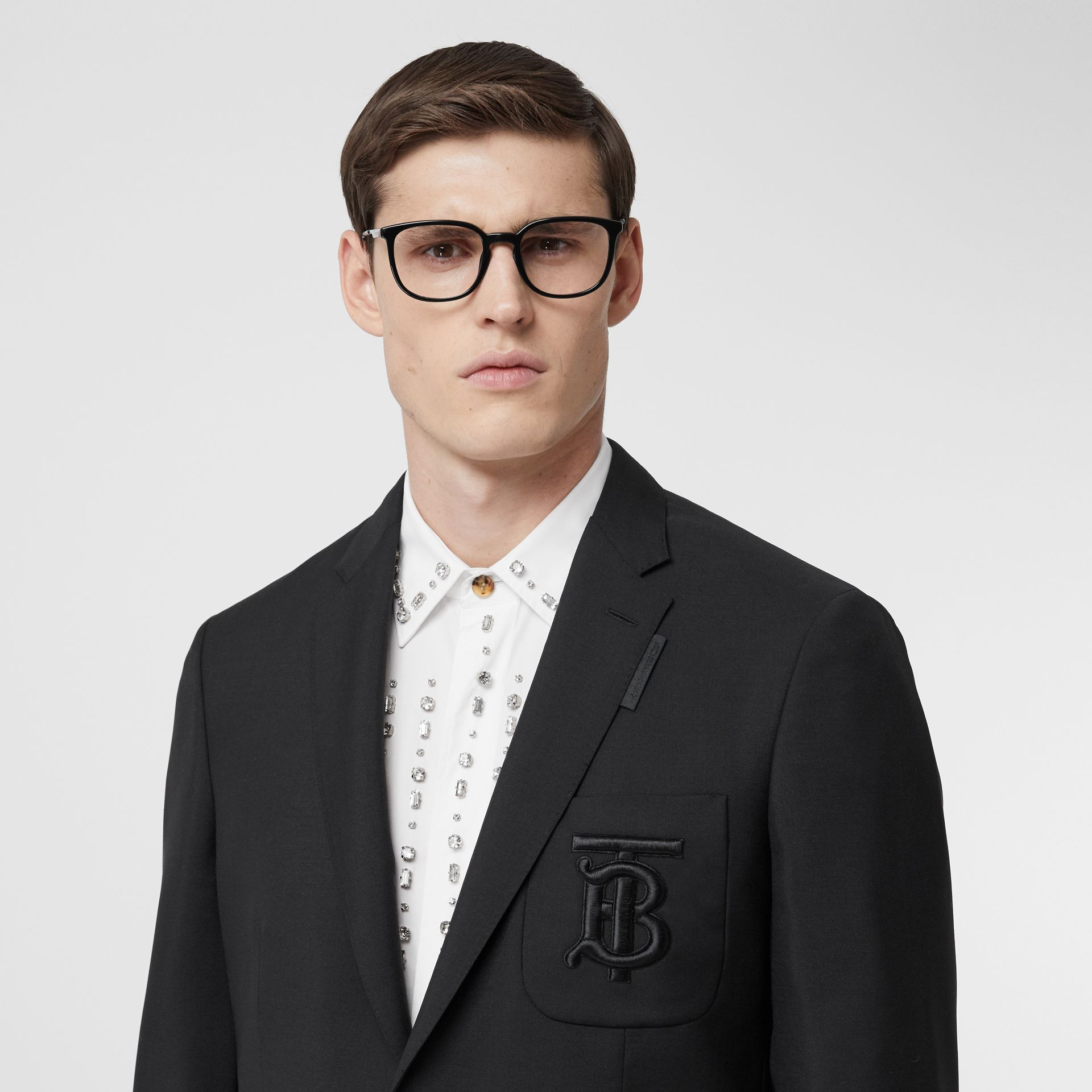 Slim Fit Monogram Motif Wool Mohair Tailored Jacket in Black - Men | Burberry - gallery image 1