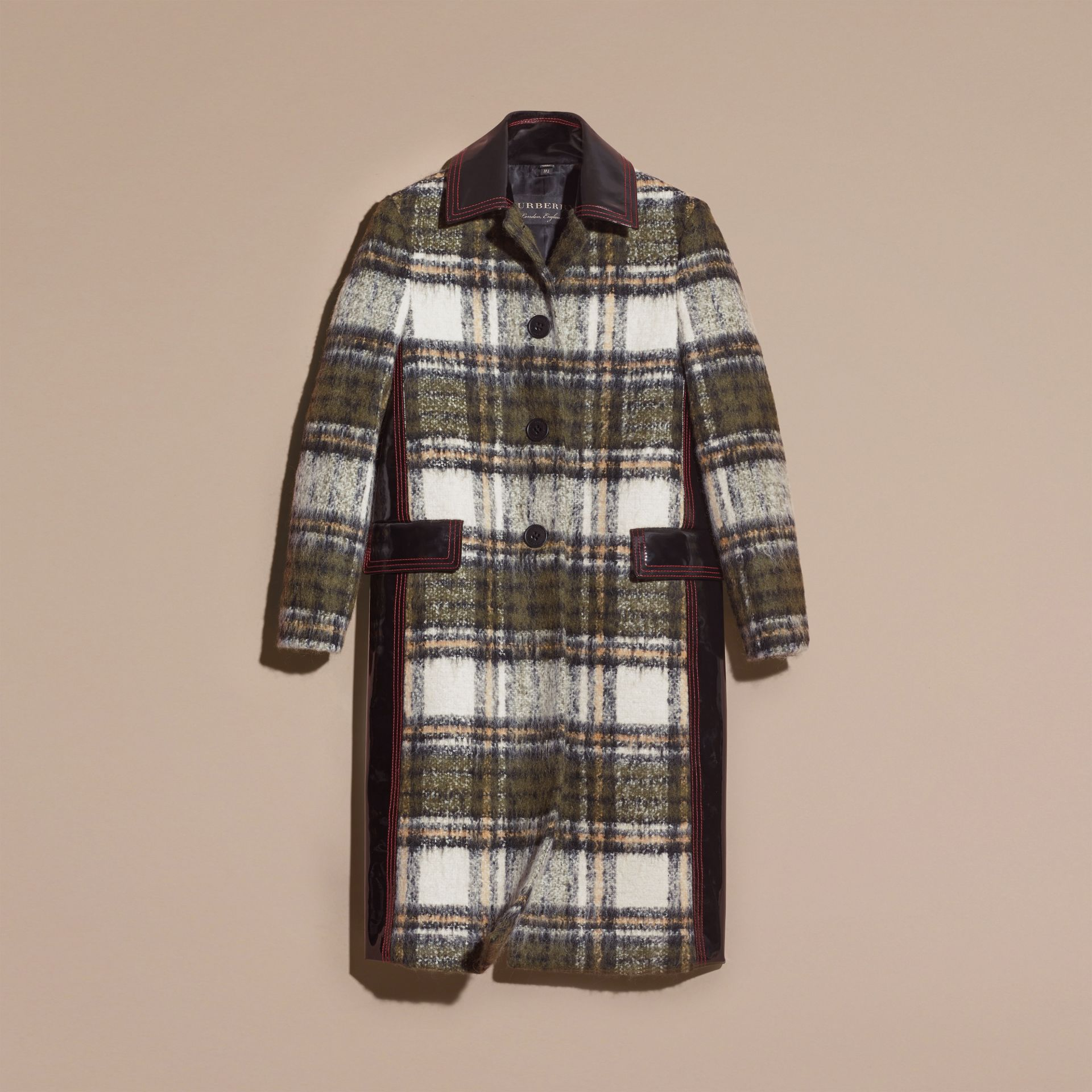 Forest green Brushed Tartan Wool Mohair Coat - gallery image 4