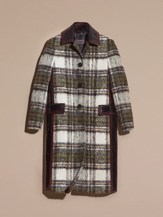 Forest green Brushed Tartan Wool Mohair Coat - cell image 3