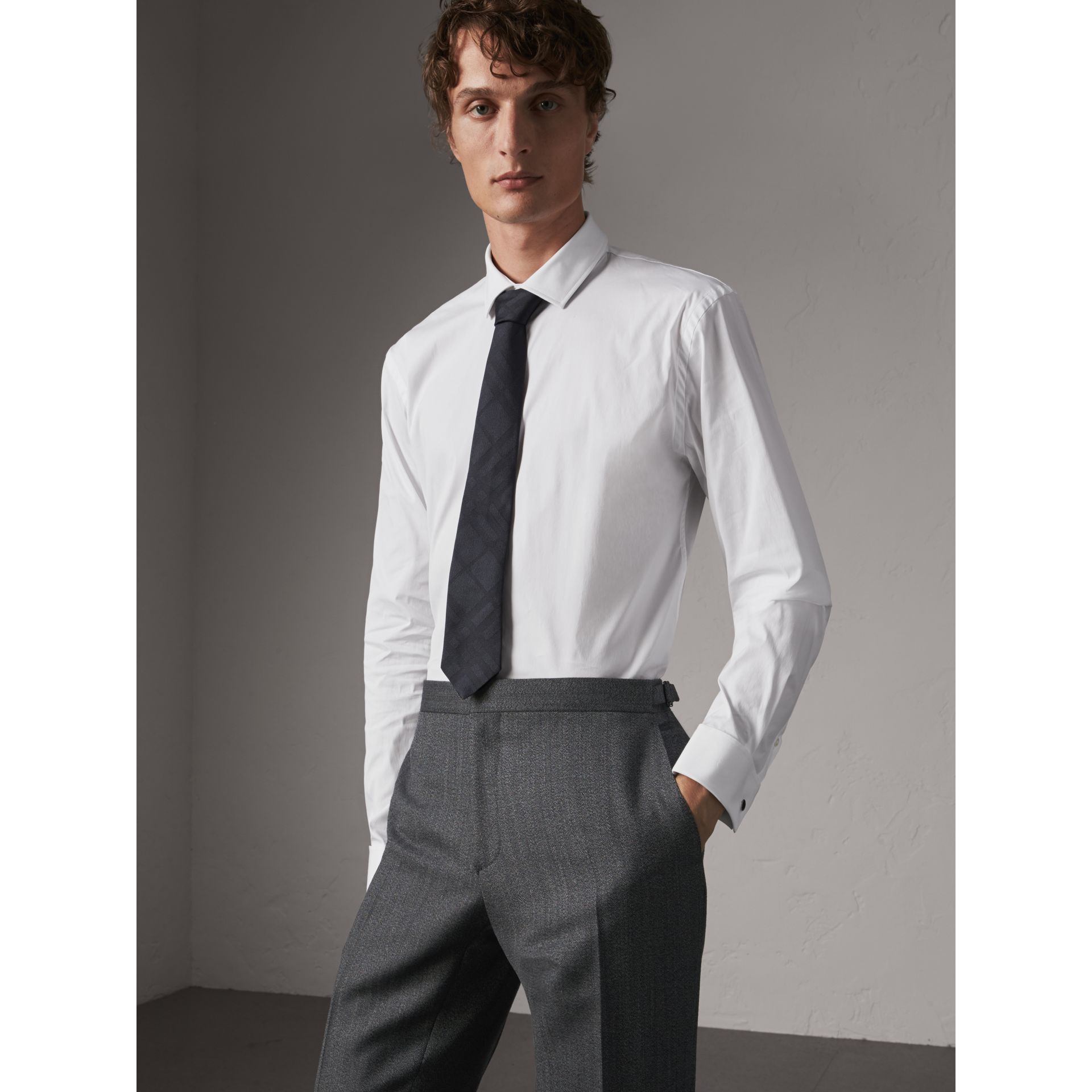 Modern Fit Double-cuff Stretch-cotton Shirt in White - Men | Burberry - gallery image 1