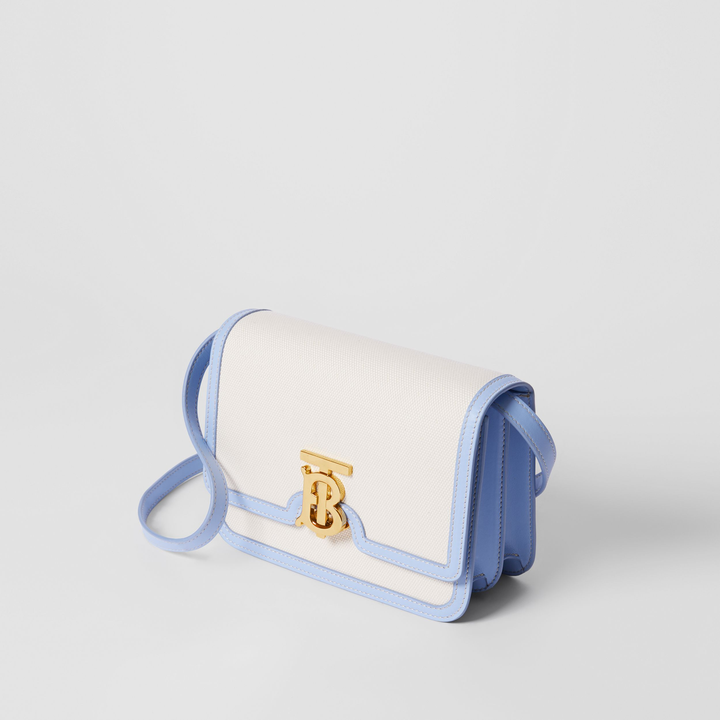 Small Two-tone Canvas and Leather TB Bag in Natural/pale Blue | Burberry - 4