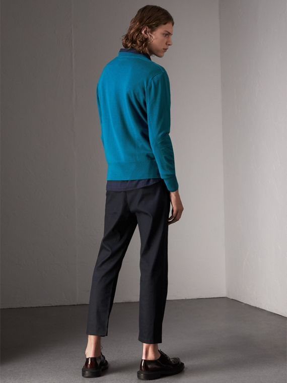 Check Detail Merino Wool Sweater in Mineral Blue - Men | Burberry - cell image 2