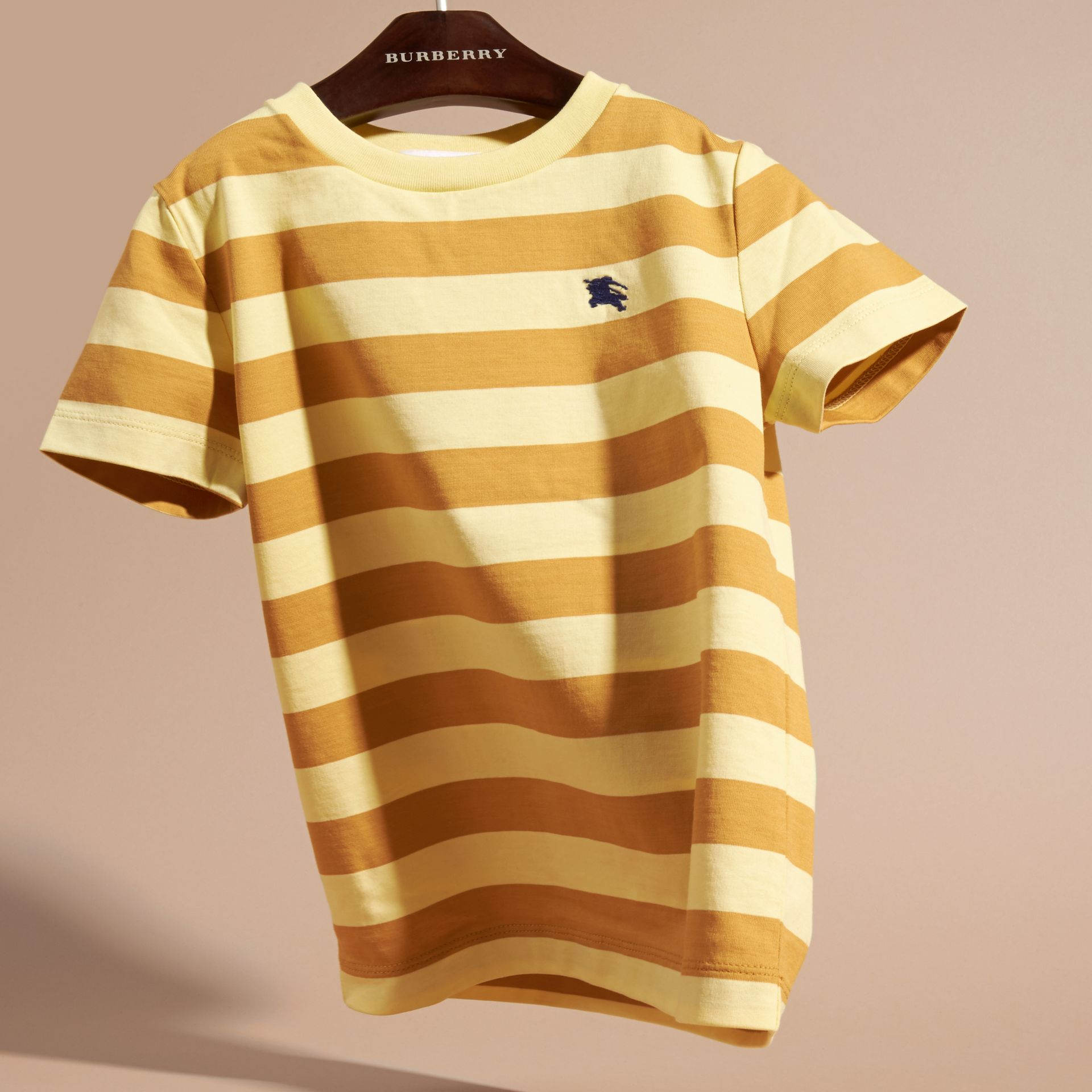 Striped Cotton T-shirt in Pale Yellow/ochre Yellow - Boy | Burberry Hong Kong - gallery image 3