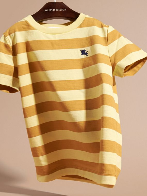 Striped Cotton T-shirt in Pale Yellow/ochre Yellow - Boy | Burberry Hong Kong - cell image 2