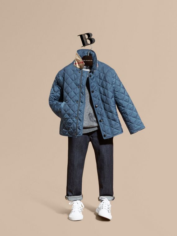 Diamond Quilted Jacket Bright Steel Blue