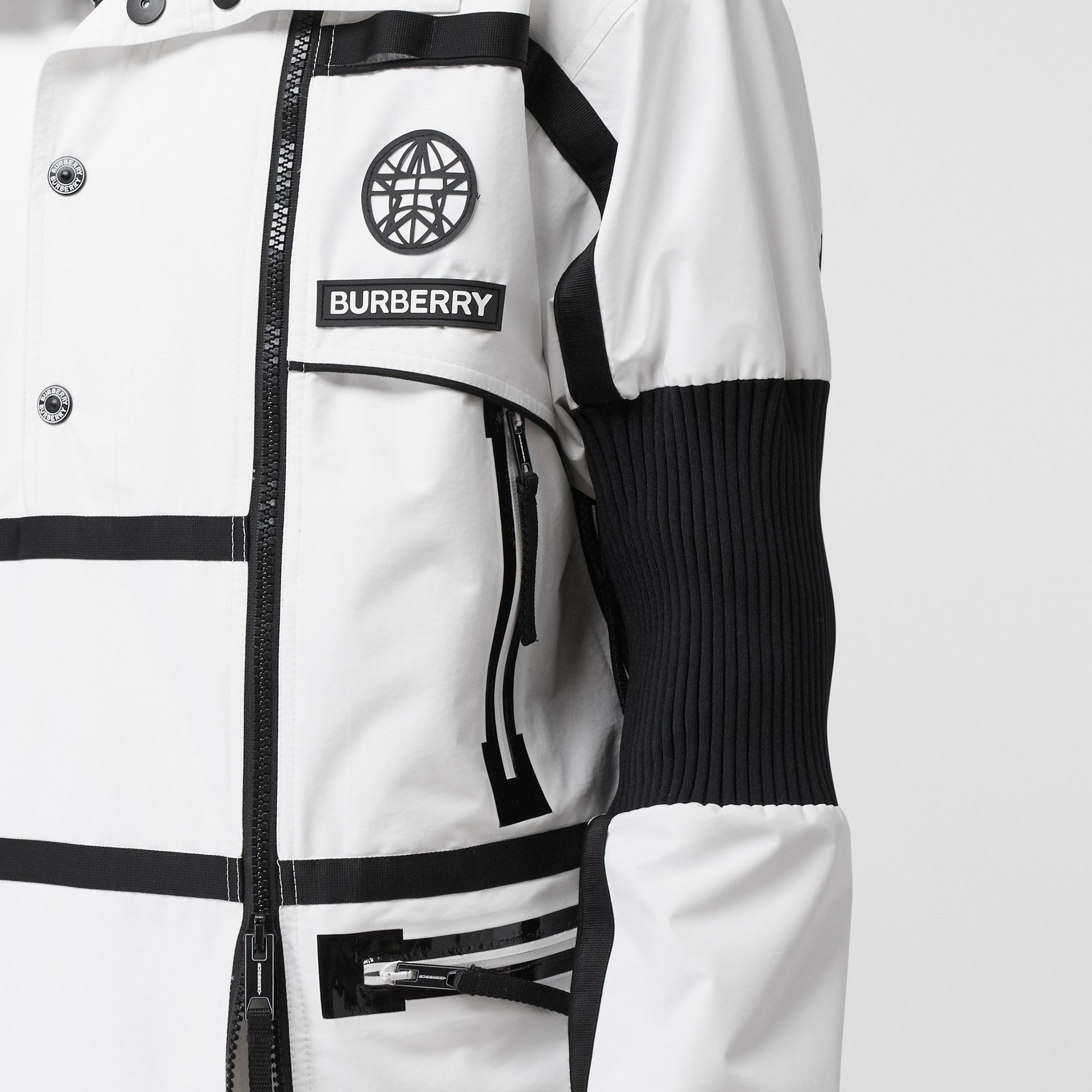 Globe Graphic Nylon Reconstructed Track Jacket in Optic White | Burberry - gallery image 4