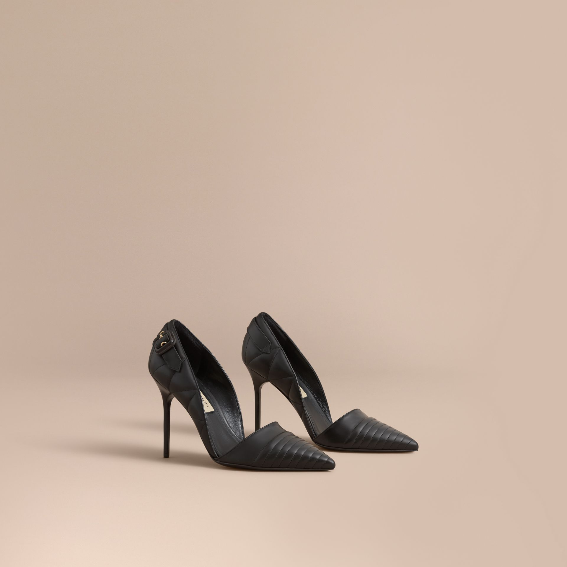 Quilted Leather D'Orsay Pumps in Black - Women | Burberry - gallery image 1