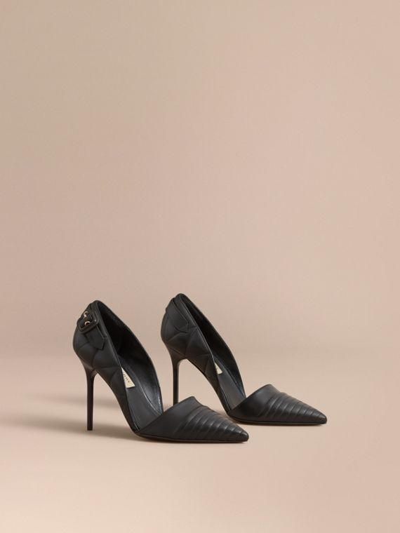Quilted Leather D'Orsay Pumps in Black