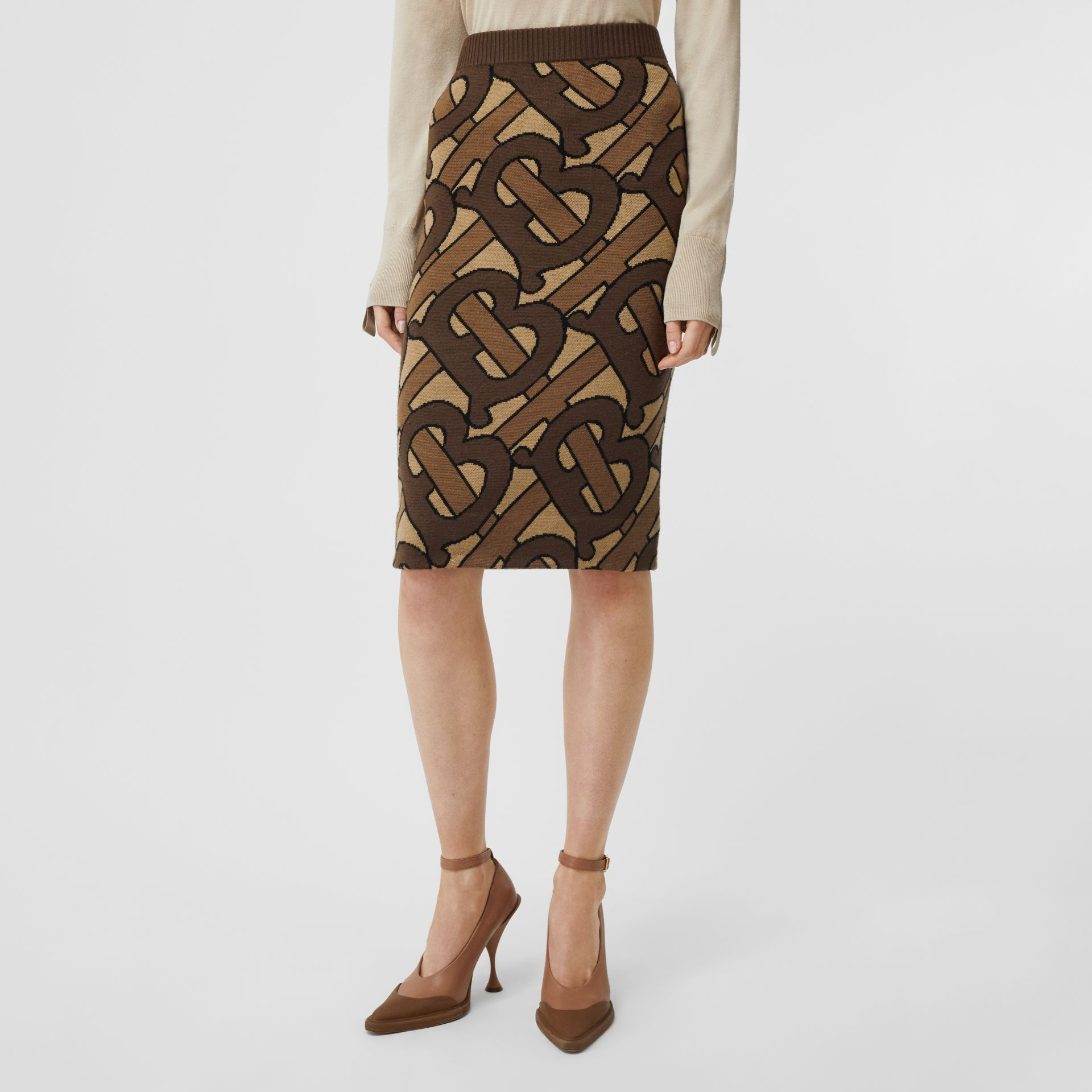 Monogram Intarsia Wool Pencil Skirt in Bridle Brown - Women | Burberry - gallery image 5