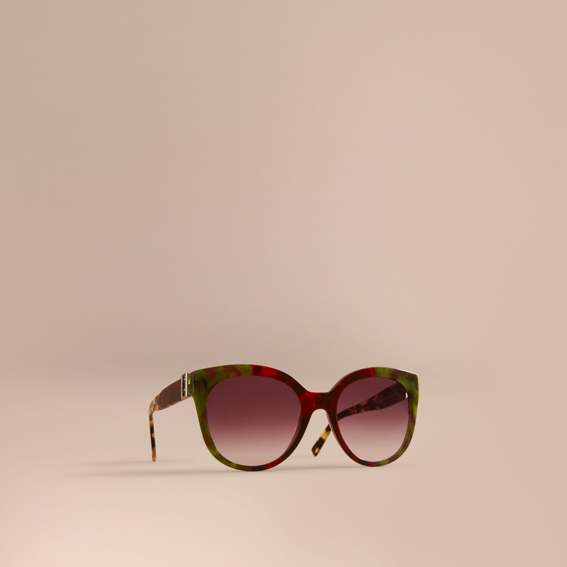dbe3ca28d86d BURBERRY. Buckle Detail Cat-Eye Frame Sunglasses