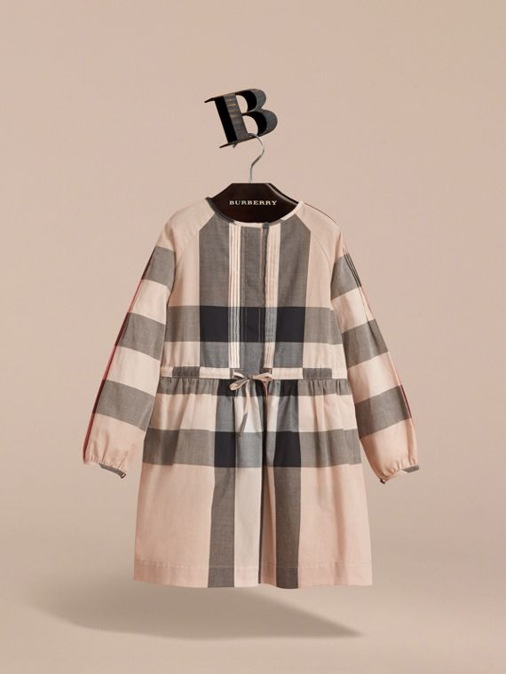 Collarless Check Drawcord Cotton Voile Dress in New Classic - Girl | Burberry - cell image 2