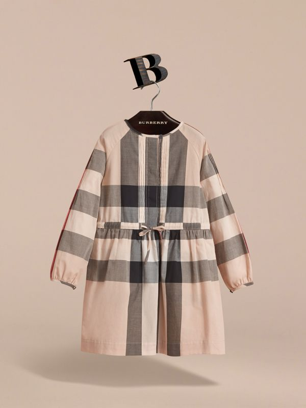 Collarless Check Drawcord Cotton Voile Dress in New Classic | Burberry United States - cell image 2
