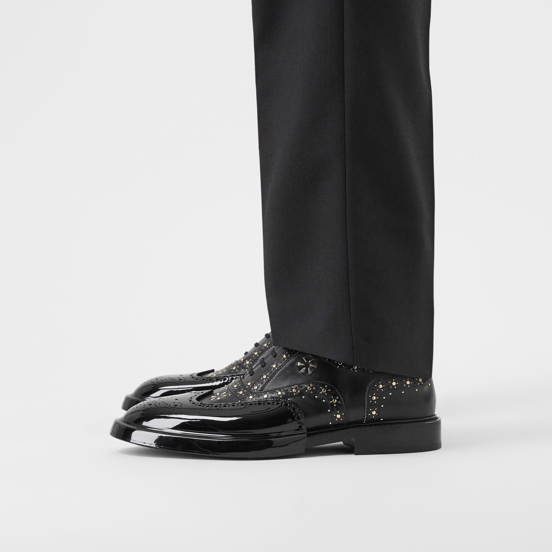 Toe Cap Detail Studded Leather Oxford Brogues in Black | Burberry Hong Kong S.A.R - gallery image 2