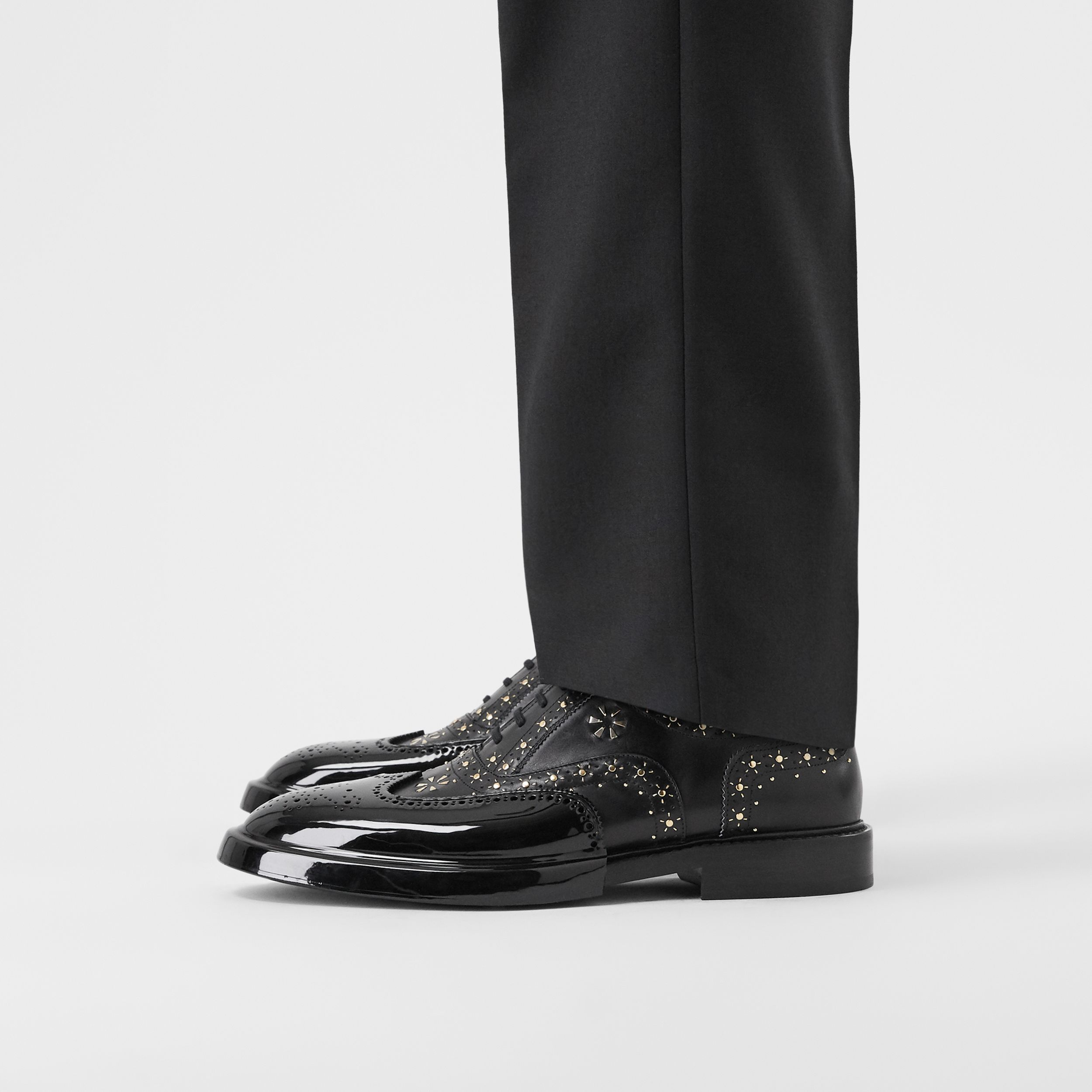 Toe Cap Detail Studded Leather Oxford Brogues in Black | Burberry Canada - 3
