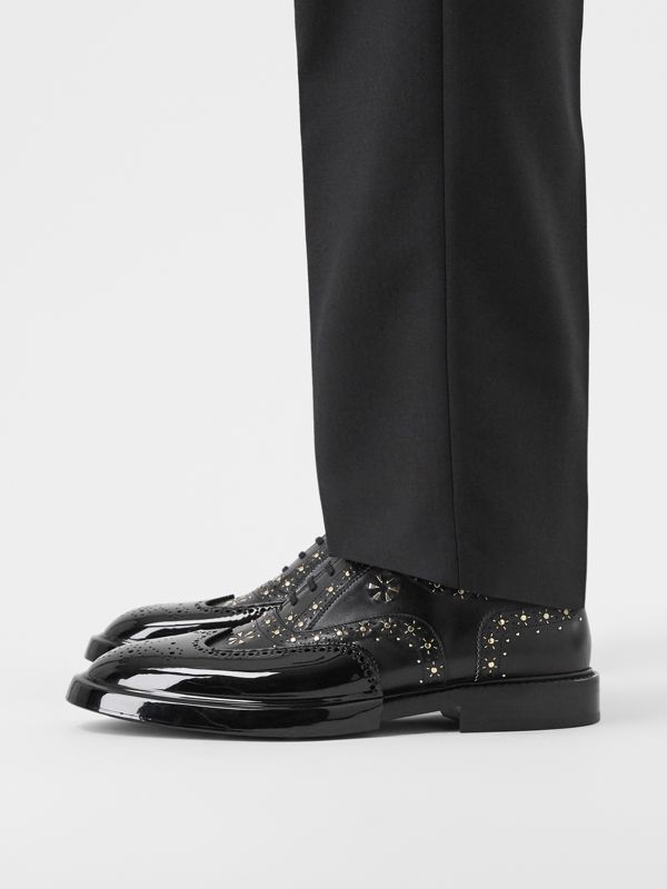 Toe Cap Detail Studded Leather Oxford Brogues in Black | Burberry Hong Kong S.A.R - cell image 2