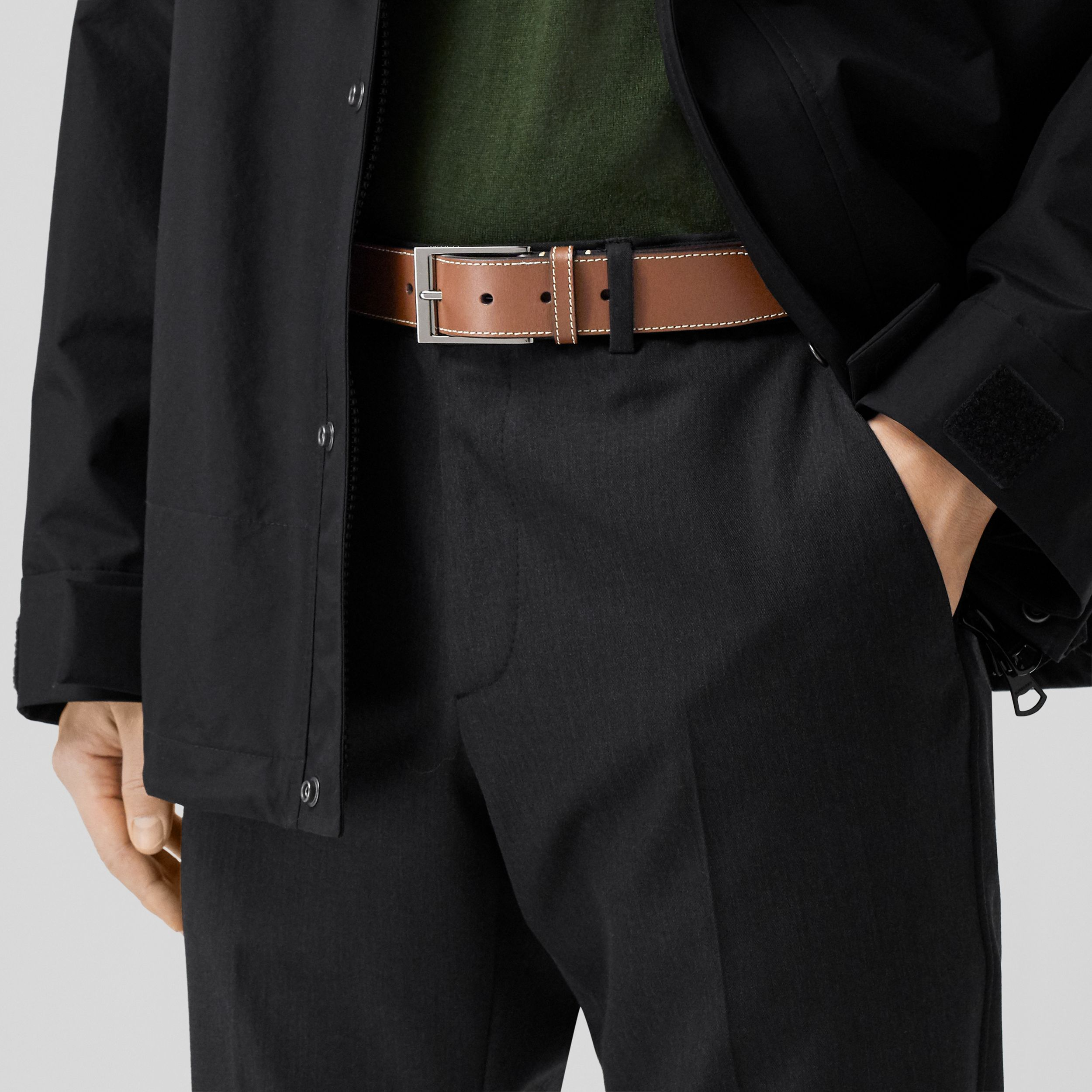 Topstitched Leather Belt in Tan - Men | Burberry - 3