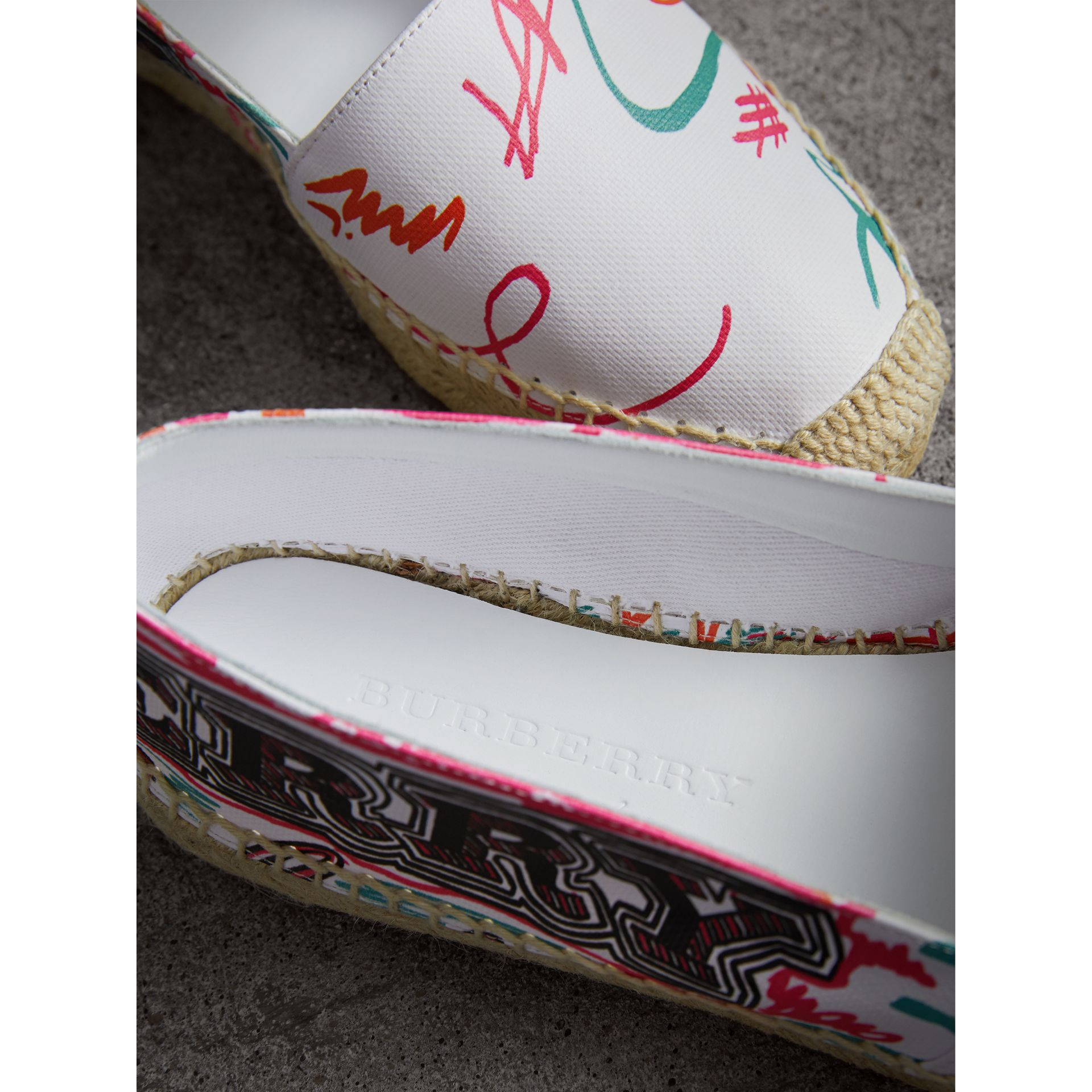 Doodle Print Coated Cotton Espadrilles in Optic White - Women | Burberry - gallery image 1