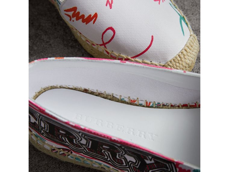 Doodle Print Coated Cotton Espadrilles in Optic White - Women | Burberry - cell image 1