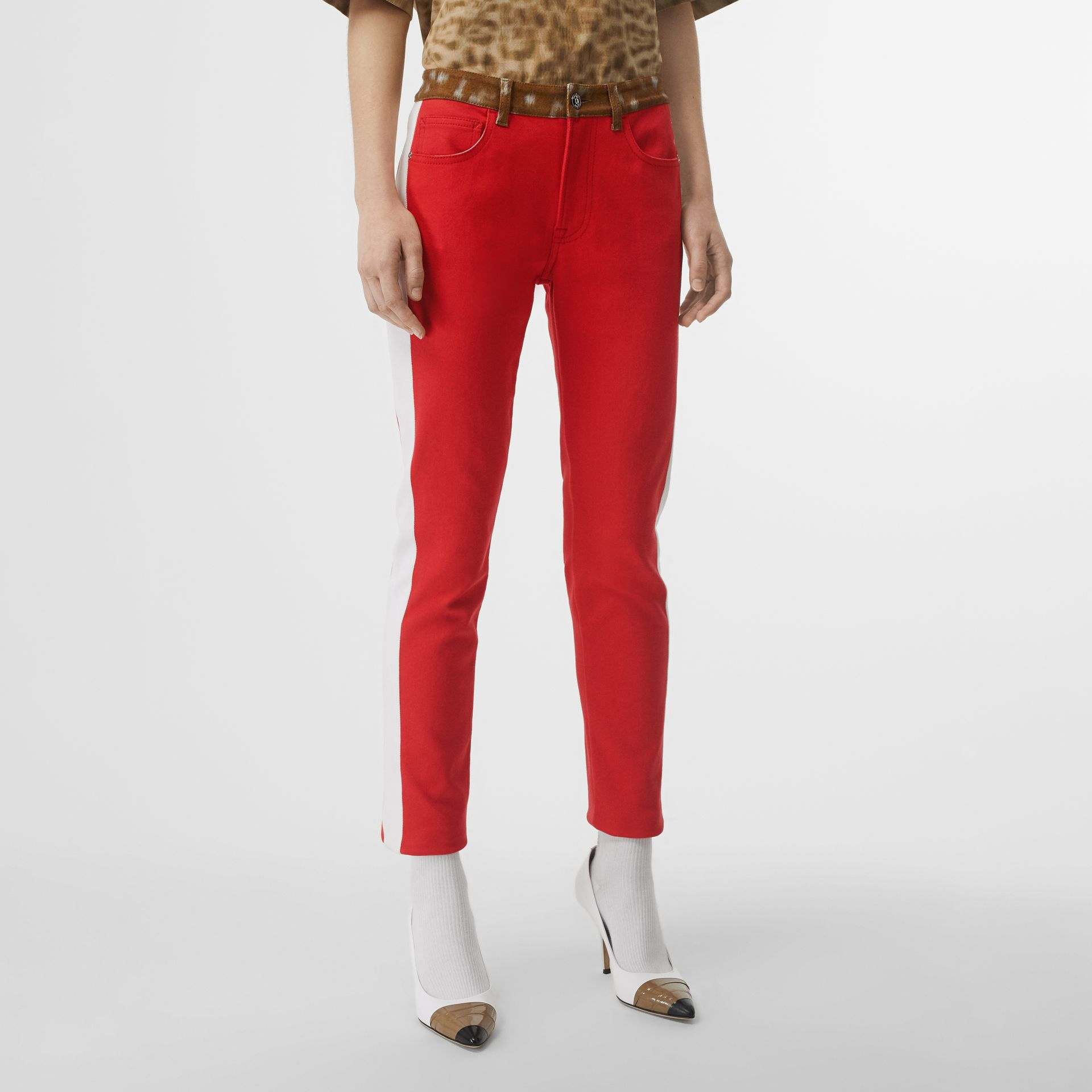Straight Fit Deer Print Trim Japanese Denim Jeans in Bright Red - Women | Burberry United Kingdom - gallery image 4