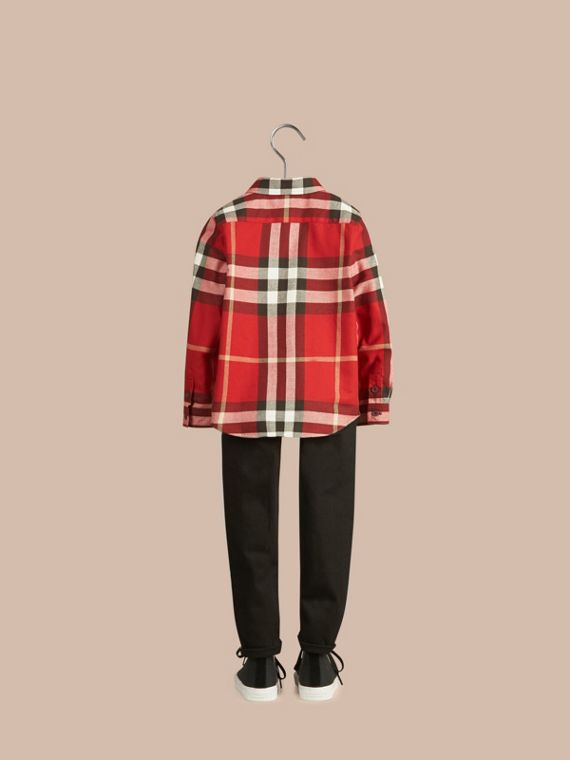Check Cotton Flannel Button-Down Shirt in Parade Red - Boy | Burberry - cell image 3